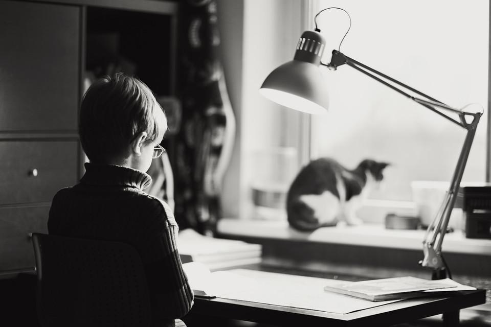 Schwarzweißfoto eines Kindes am Schreibtisch mit einer Katze auf der Fensterbank.