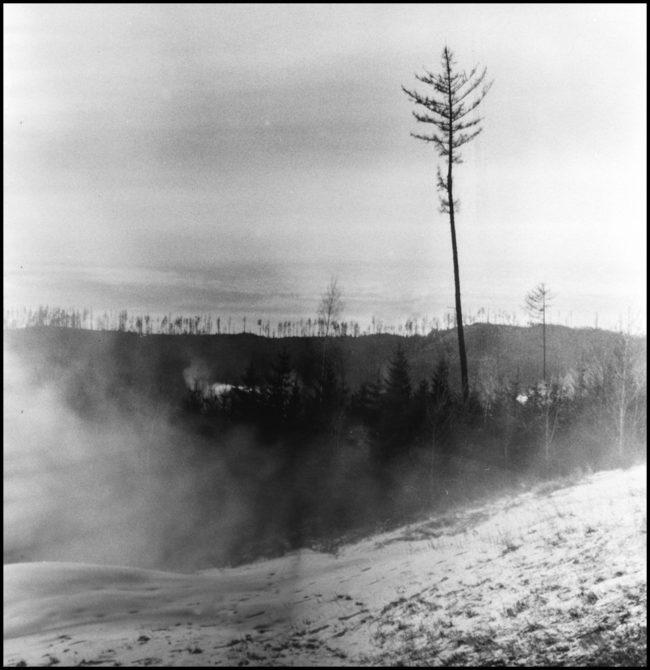 Schwarzweißaufnahme einer nebeligen Landschaft.
