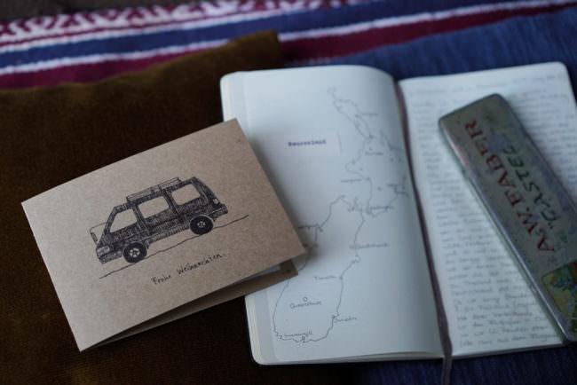 Weihnachtskarte und Landkarte