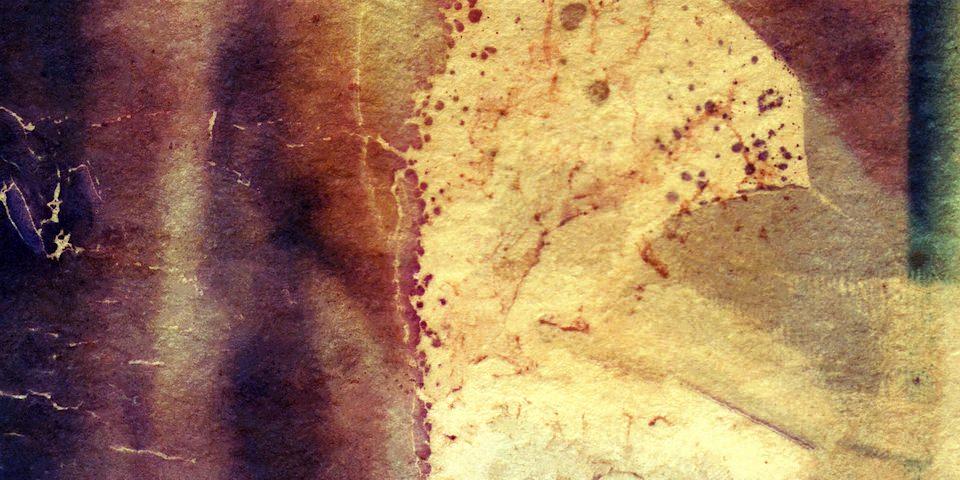 Abstrakte Landschaft aus Gelb und Violett.