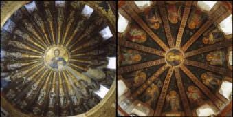 Eine Deckenmalerei mit dem Herrn Jesus Christus.