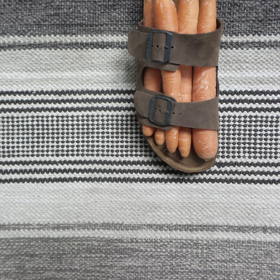 Fünf Möhren stecken wie ein Fuß in einem offenen Schuh.