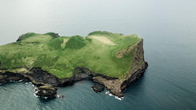 Insel aus dem Flugzeug heraus fotografiert