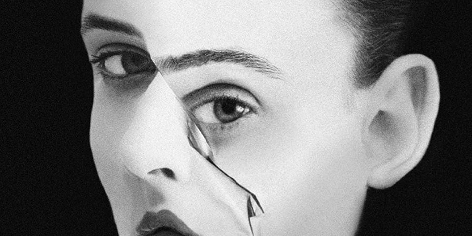 Ausschnitt eines Gesichtes mit Deformation.