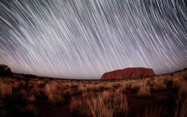 Ein Sternschnuppenschauer über einen grasigen Landschaft.