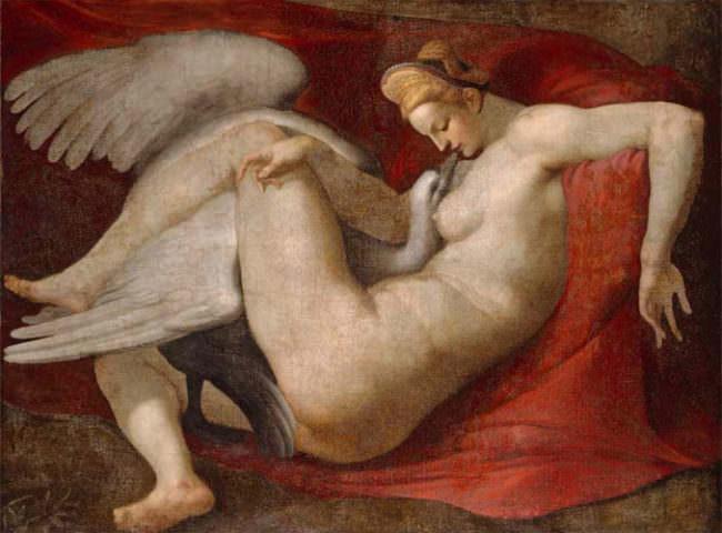 Gemälde einer nackten Frau, die von einem weißen Schwan verführt wird.