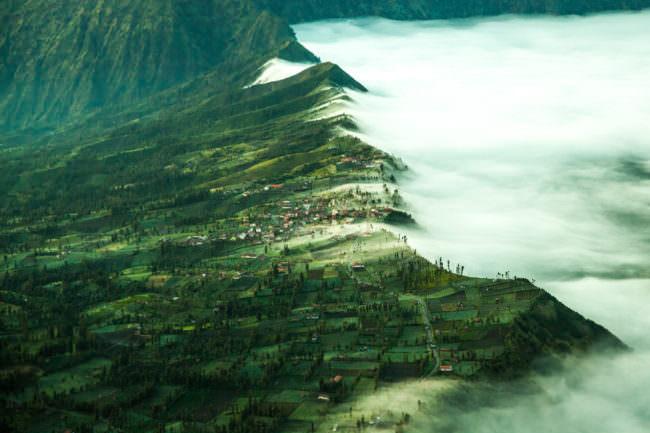 Eine grüne Landschaft mit Nebel