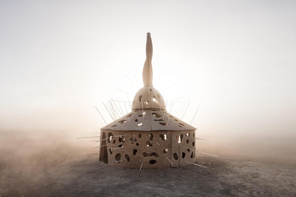 Ein Gebilde mit Stacheln im Wüstensand.