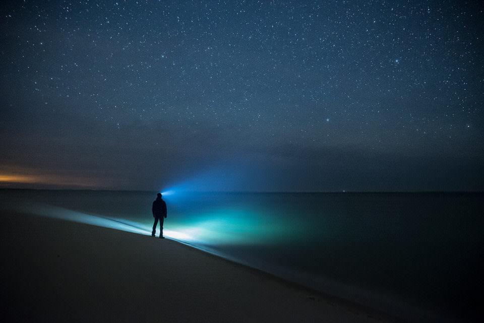 Eine Person mit Stirnenlampe leuchtet ins nächtliche Meer