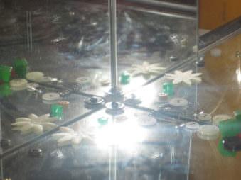 Abstrakte Ansicht von kleinen Perlen und Blumen in Spiegelecke.