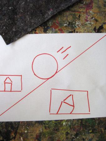Zettel mit Skizze von Ball und Haus.
