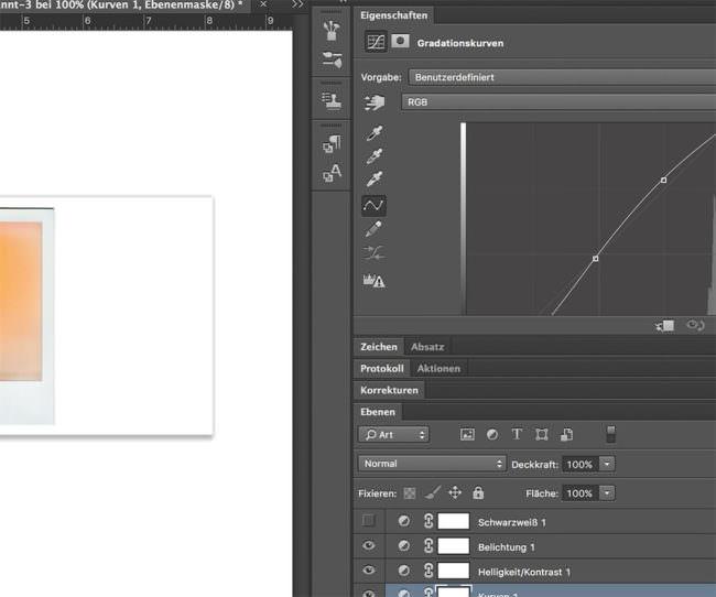 Ausschnitt einer Bearbeitungssituation in einem Bildbearbeitungsprogramm
