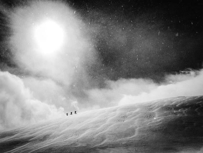 Wanderer im Schneesturm