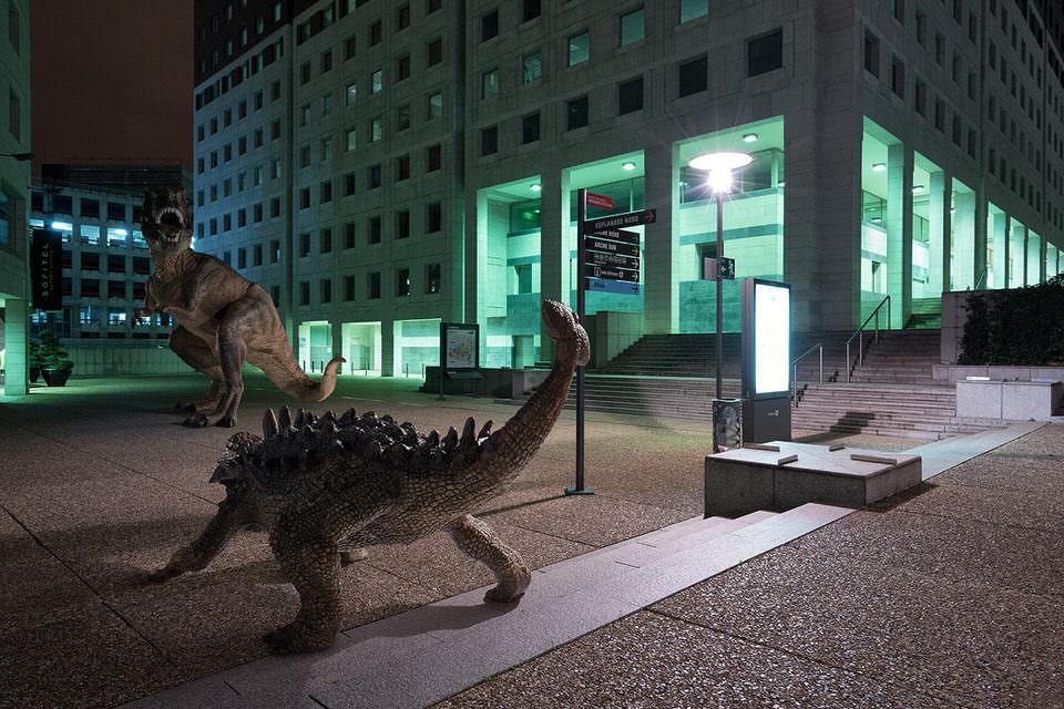 Dinokampf in der Stadt