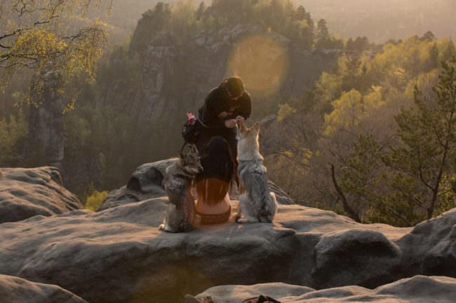 Hunde und zwei Frauen auf einem Felsen