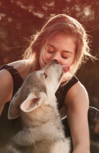 Hund leckt einer Frau ins Gesicht
