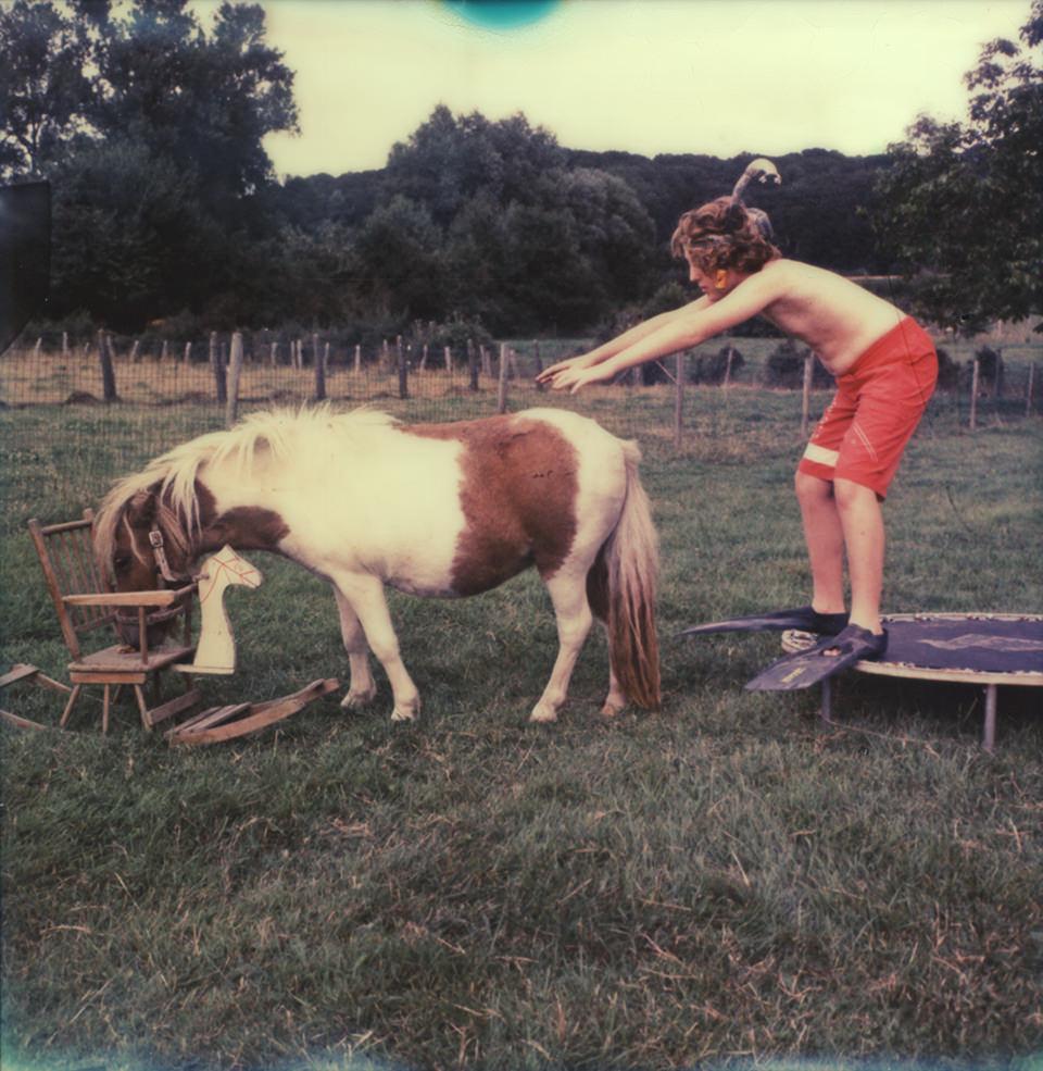 Ein Jungemit Schnorchelausrüstung setzt zum Sprung auf ein Pony an, das Futter vom Sitz eines kleinen Schaukelstuhls frisst