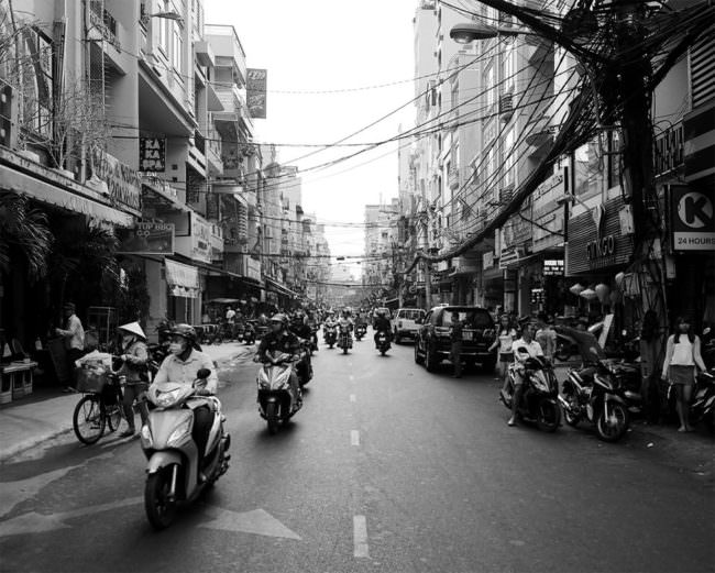 Dicht befahrene Straße