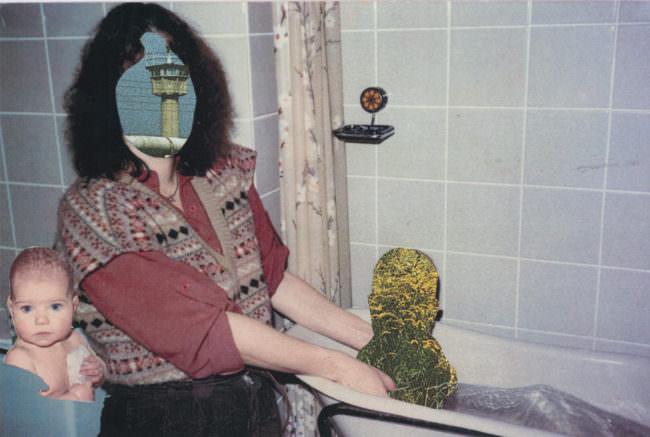 Frau in bunter Bluse die ein Baby badet welches nur als Pflanzen gezeigt ist.
