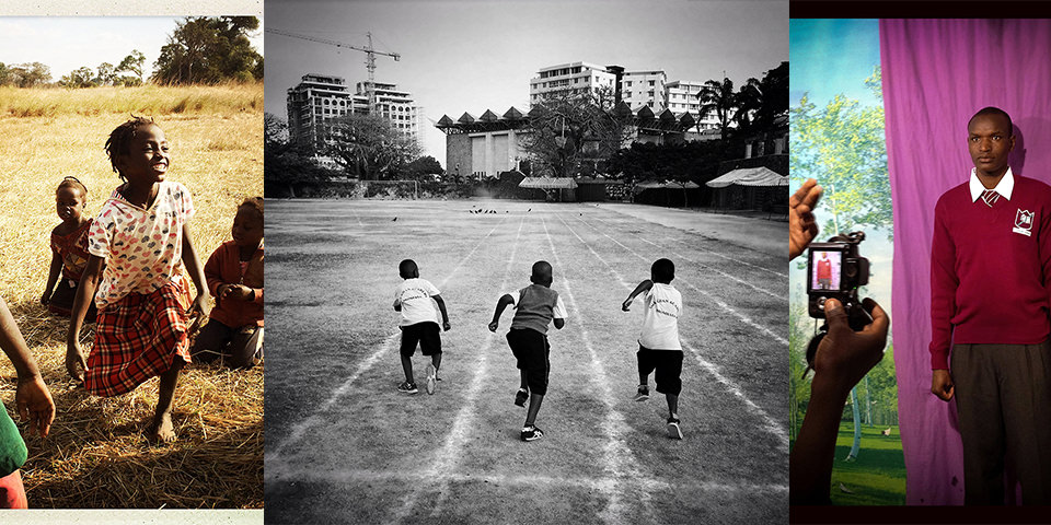 Afrikanisches lachendes Kind im Kleid, drei Jungen die von hinten zu sehen sind und auf einer Wiese entlang rennen und ein Mann vor lila Hintergrund der fotografiert wird.