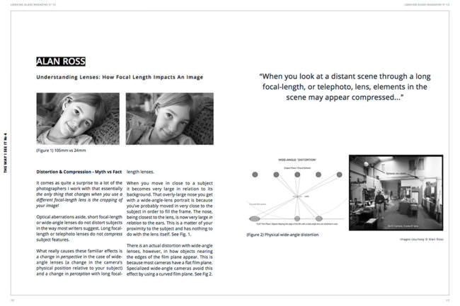 Doppelseitenansicht aus einem Magazin mit beschreibenden Diagrammdarstellungen, zwei vergleichenden Bildbeispielen und Text.