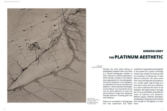 Ansicht einer Magazindoppelseite: links mit einem Foto von einem Zweig, der einen Schatten auf Sand wirft und rechts stehend ein Text.