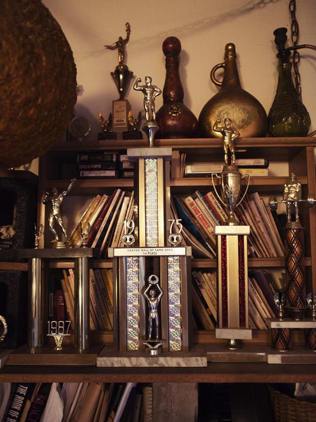 Wand mit Trophäen und Auszeichnungen in einem Bücherregal.