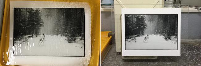 Diptychon zweier Aufnahmen eines Dunkelkammerabzugs