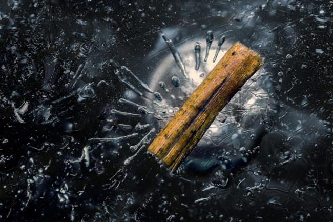 Ein Holzstück im Eis