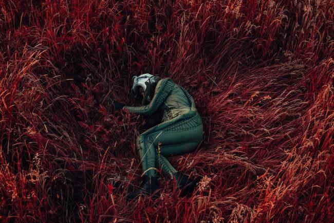 Ein Astronaut liegt in einer Wiese mit rotem Gras.