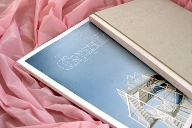 Ein Magazin liegt auf rosa Stoff.