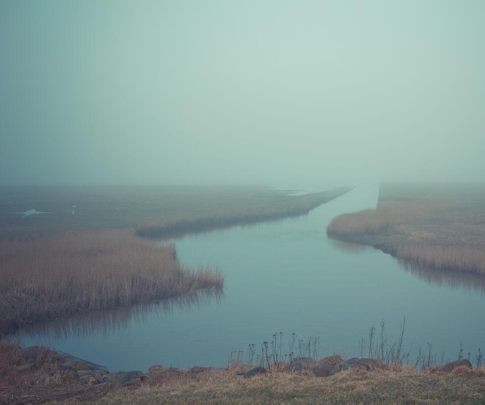 Landschaftsaufnahme eines Sees im Nebel.