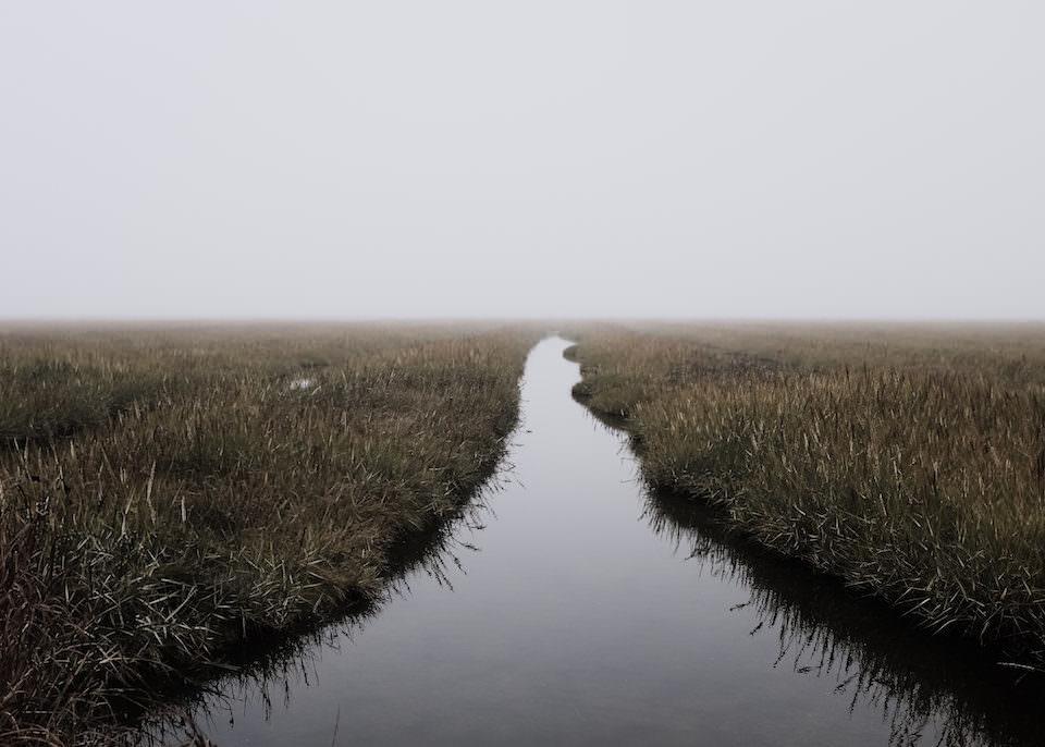 Minimalistische Landschaftsaufnahme eines Flusses im Nebel.