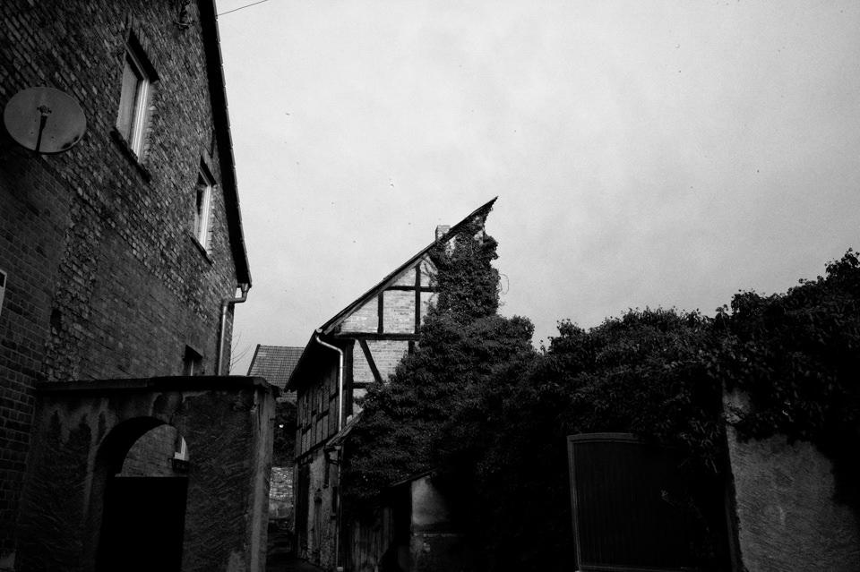 Ein halbes, überwuchertes Haus