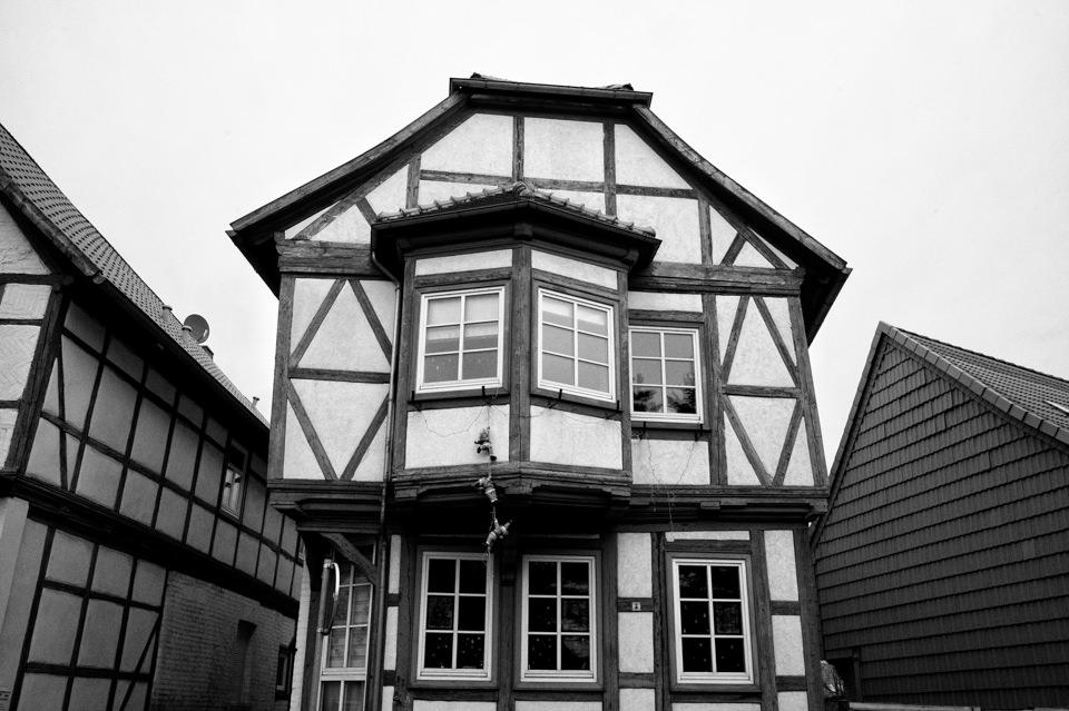 Ein Fachwerkhaus von außen