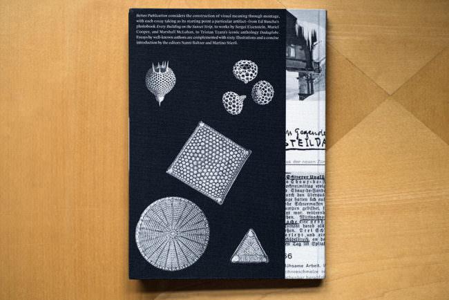 Aufsicht auf eine Buchrückseite mit weißen Mustern oder Zeichnungen darauf.
