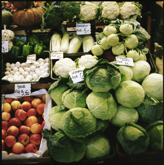 Obst und Gemüse in der Auslage