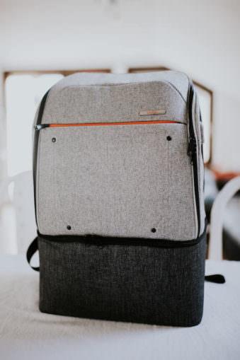Frontansicht eines Grauen Rucksackes