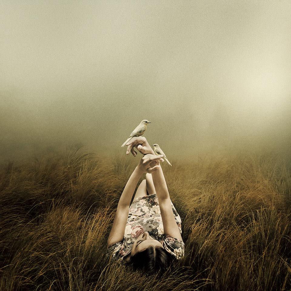 Eine Frau die im Gras liegt und Ihre Hände hoch hält, auf denen zwei Vögel sitzen.