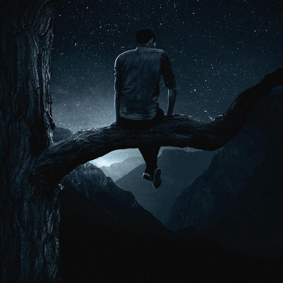 Ein mann der auf dem Ast eines Baumes vor einer Berglandschaft sitzt, die unter einem Sternenhimmel liegt.