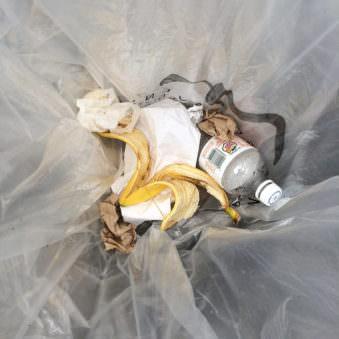 Aufnahme in einem Mülleimer mit Bananenschale und Plastikflasche.