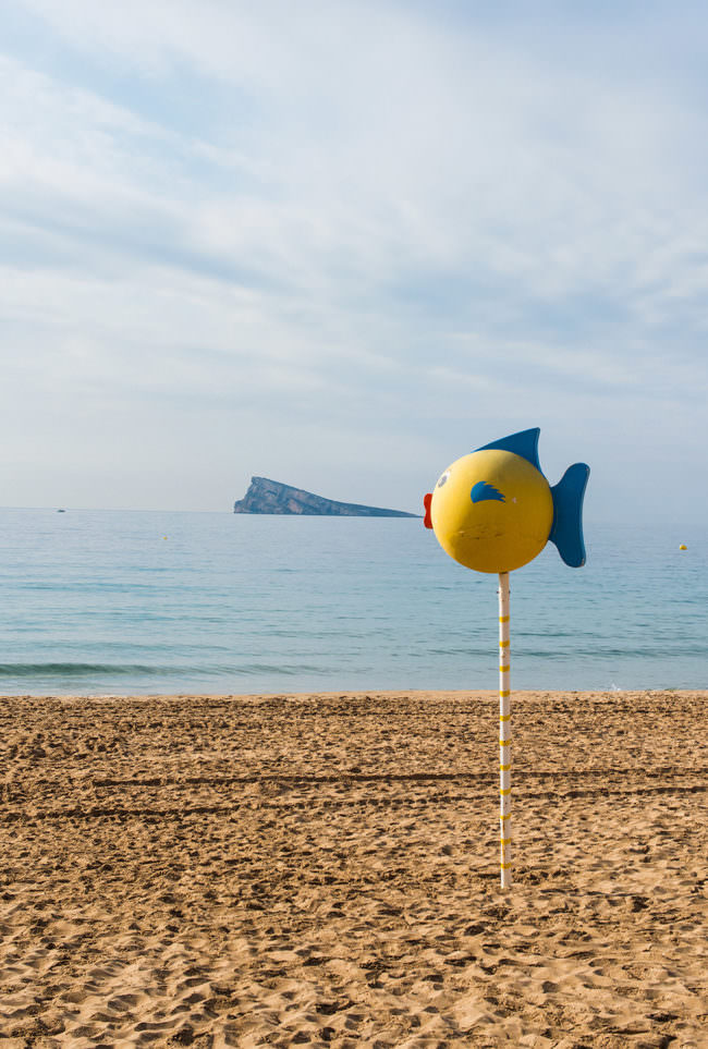 Eine Fischfigur vor einer Insel