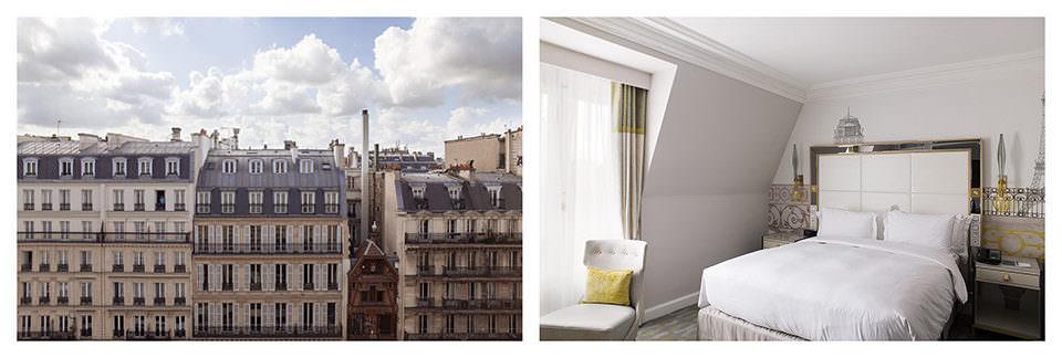 Ausblick auf eine Stadt und Hotelzimmer