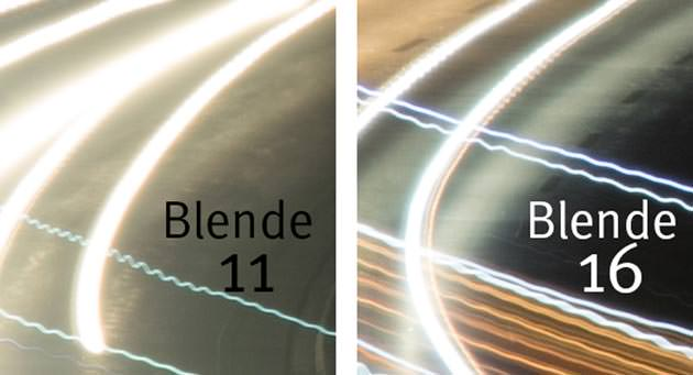 Lichtspuren bei Blende 11 und 18