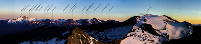 Bergpanorama mit Beschriftung