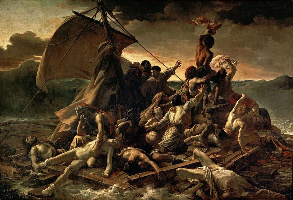 Leidende Menschen auf einem Floß