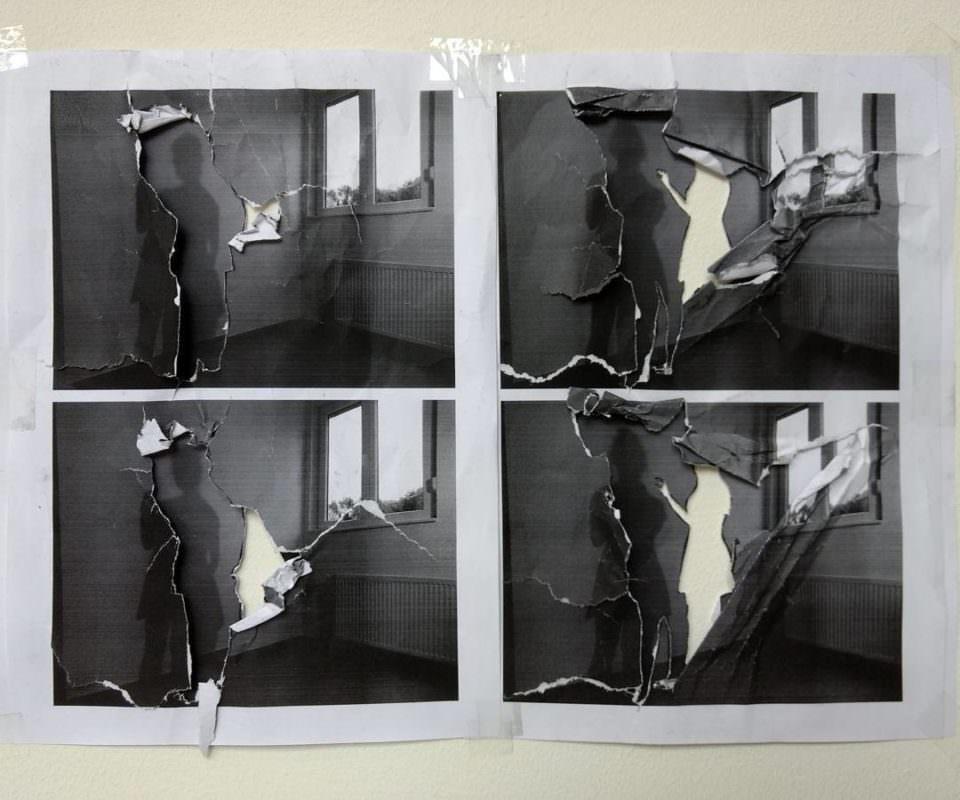 Collage aus vier angerissenen Fotografien.