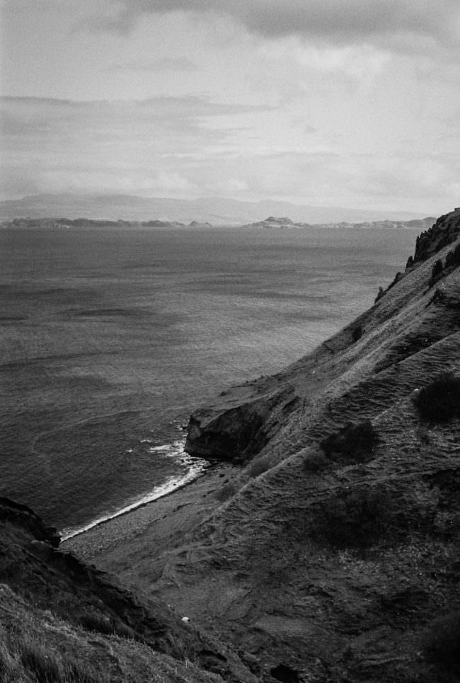 ein steiler Strand