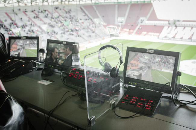 Blick auf ein Fußballfeld