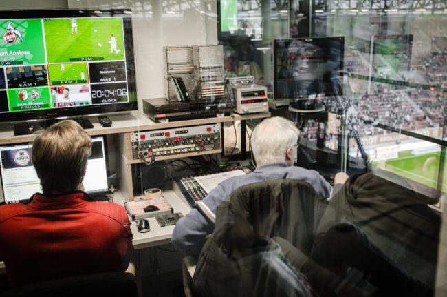 Pressekabine im Fußballstadion